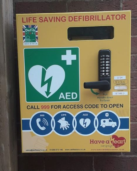 Close up of the rugby club defib
