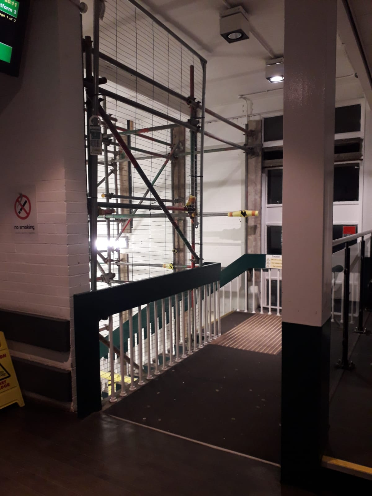 scaffolding inside the building