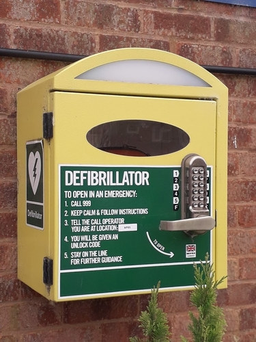 close up of the defib in edingale