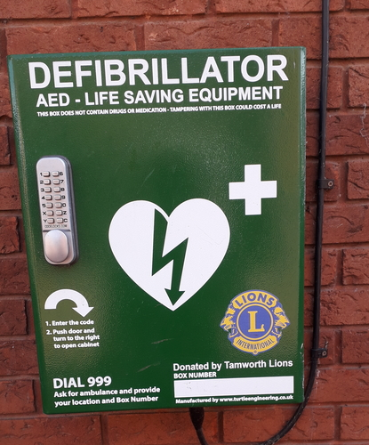 Close up of the defib at the opticians