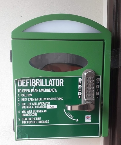The defib in the porch of Quinney Hall, accessible 24/7