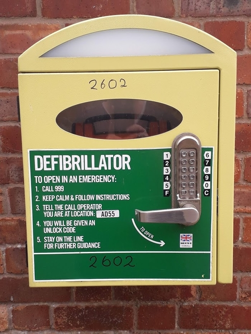 close up of the Clifton Campville defib