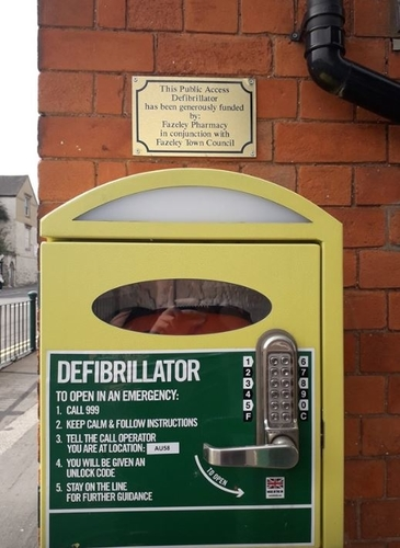 close up of the Fazeley Defib