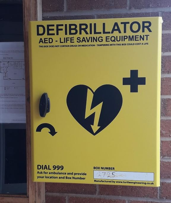 Defib in Elford Village Hall