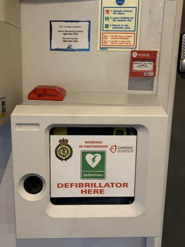 The defibrillator inside Tamworth Snowdome