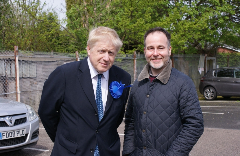 Chris with Boris Johnson in Belgrave
