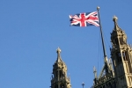 Union Jack Flag Above Westminster